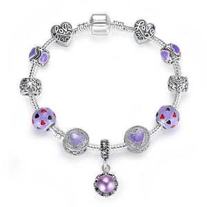 Purple Crystal Charm Silver Bracelets & Bangles for Women with DIY Beads Pearl Bracelet Femme Jewelry 2019 New Arrivals