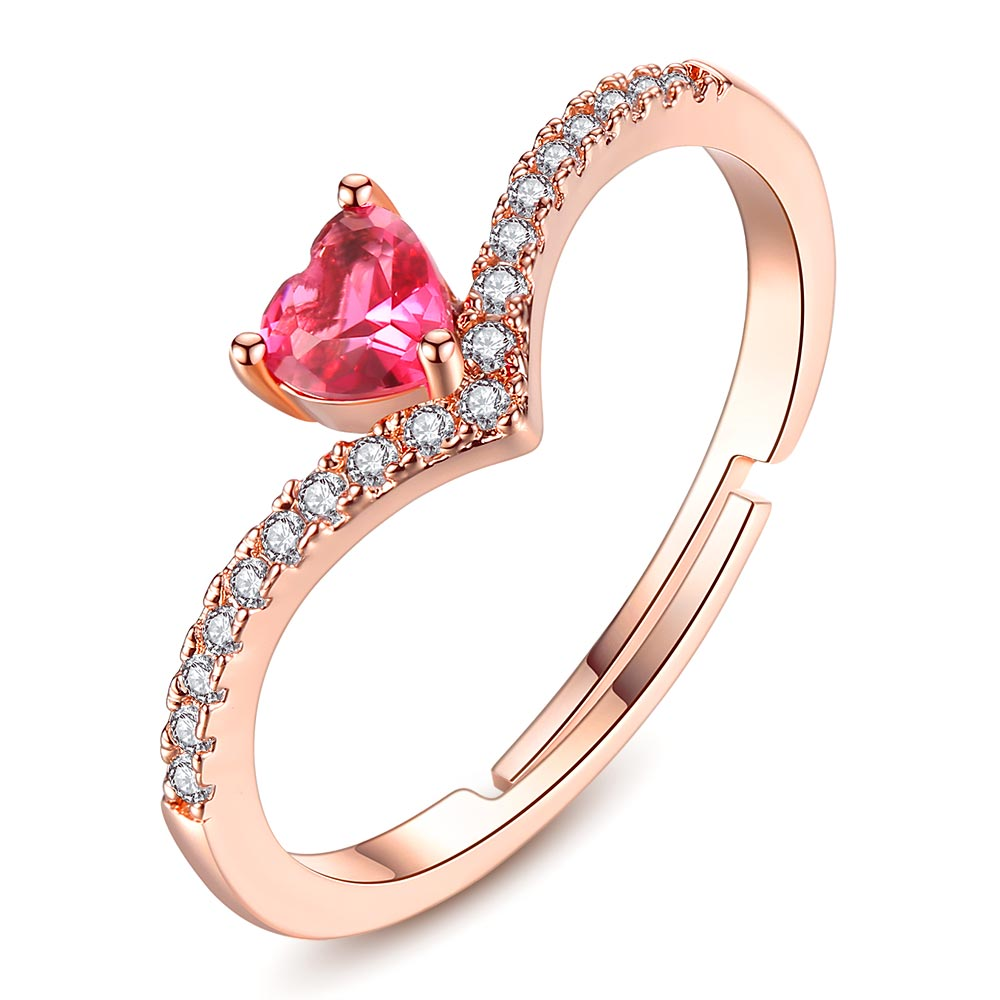 Rose Gold Color AAA+ Pink CZ Heart Clear Crystals Cluster Adjustable Finger Ring