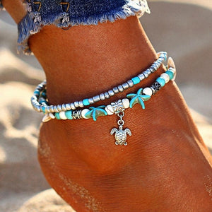 Vintage Shell Beads Starfish Anklets For Women New Multi Layer Anklet Leg Bracelet Handmade Bohemian Jewelry Sandals Gift