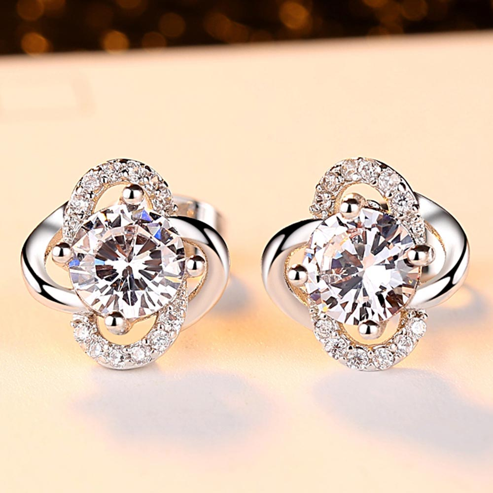Wedding Earrings for Women Exquisite Zircon Clover Jewelry Engagement Gifts