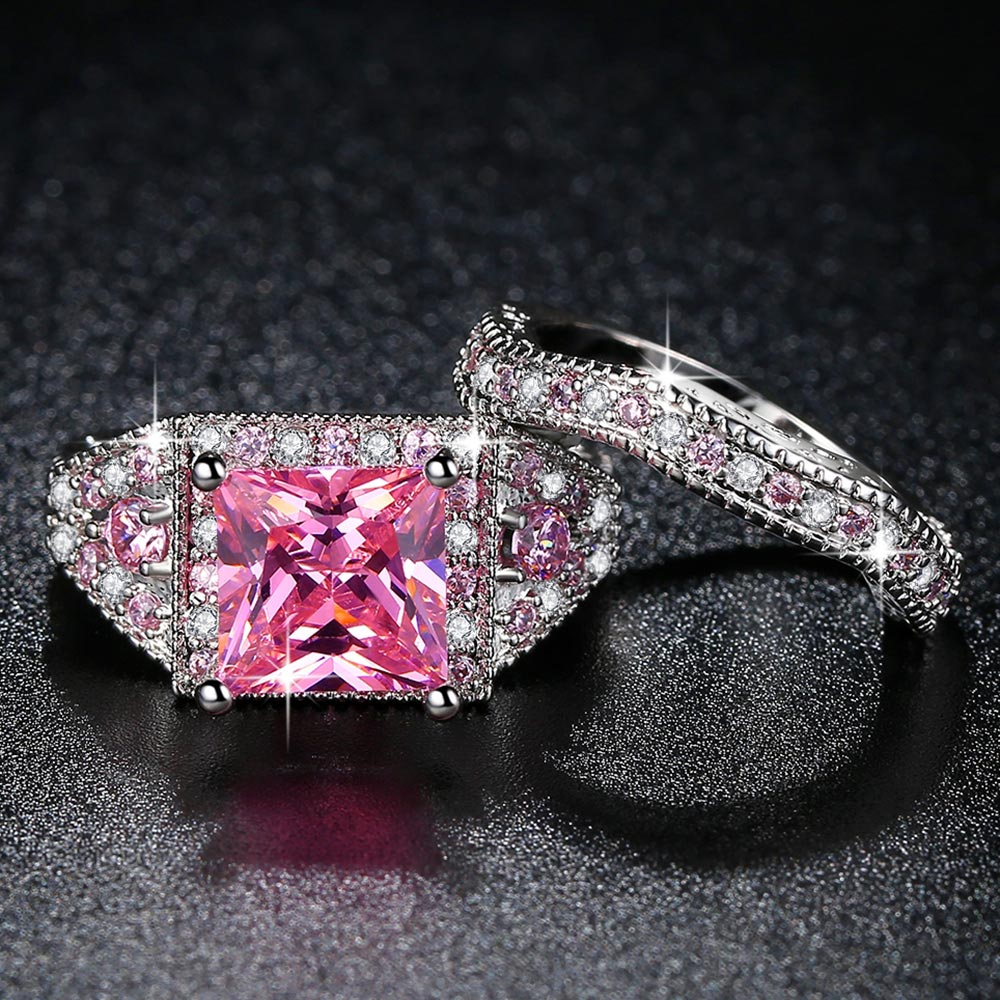 Women White Gold Color Pink Full Crystal Square CZ Couple Wedding Ring Size 6-9