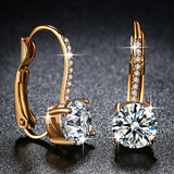 Yellow Gold Color Clear Brilliant AAA Zircon Jewelry Fashion Earrings Clip for Women Engagement Jewelry Ladies Gifts