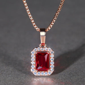 Exquisite Rose Gold Color Wedding Necklace Red Princess cut AAA CZ Ladies Gifts