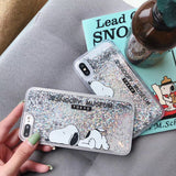 Cute Cartoon S noopy Dog Phone Case for IPhone 6 6S 7 8 Plus X XR XS MAX Transparent Quicksand Protect Shell Glitter PhoneCase