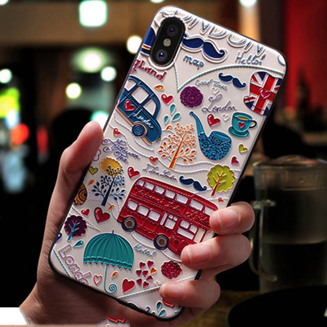 Cute 3D Emboss Cartoon Patterned Phone Case For iphone X 8 7 6 6S Plus Cases Soft Silicone Cover For iphone 5 5s SE Coque