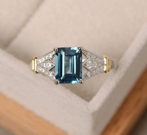 Fashion Desgin Ring Big Square Blue Crystal Stone Rings For Women Jewelry Wedding Engagement Finger Rings for birthday Gift