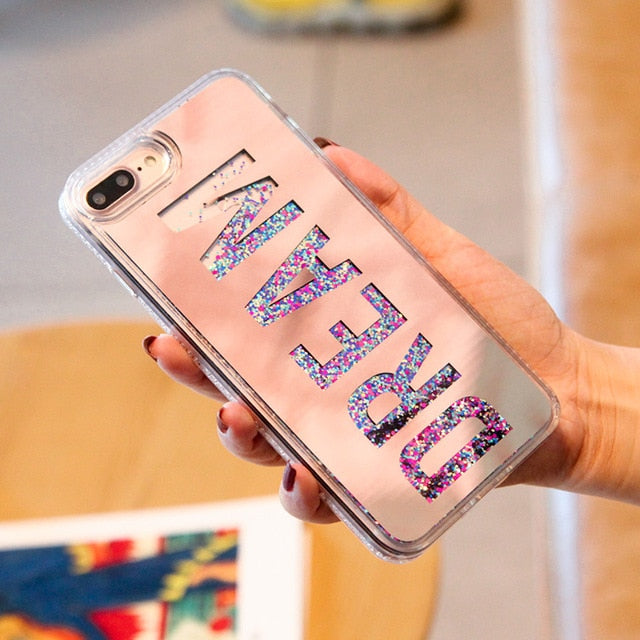 Fashion Dynamic Quicksand Glitter Powder Case For iphone X 8 7 6 6s Plus Fundas Slim Hard Clear Mirror Cover Soft Edge PhoneCase