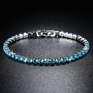 Fashion Jewelry for Women Zirconia Bracelet in Real Rhodium Plated 19 cm 4 Colors CZ Bracelet for Ladies Girls