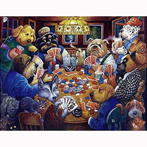 F&S Diamond Painting Store Dogs with Playing Cards