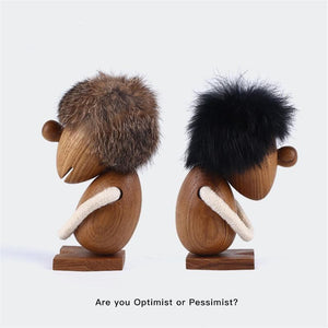 Solid Teak Wood Optimist/Pessimistic Puppet