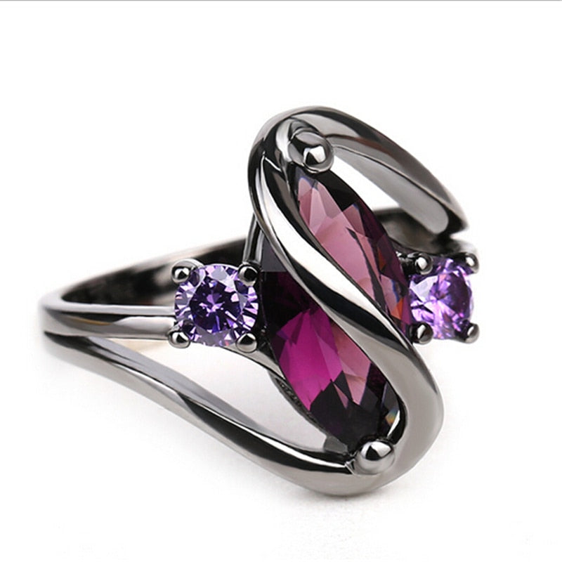 Hot Fashion Luxury Vintage Purple Zircon CZ Crystal Colorful Rings For Women Wedding Engagement Jewelry Black Gold Rings