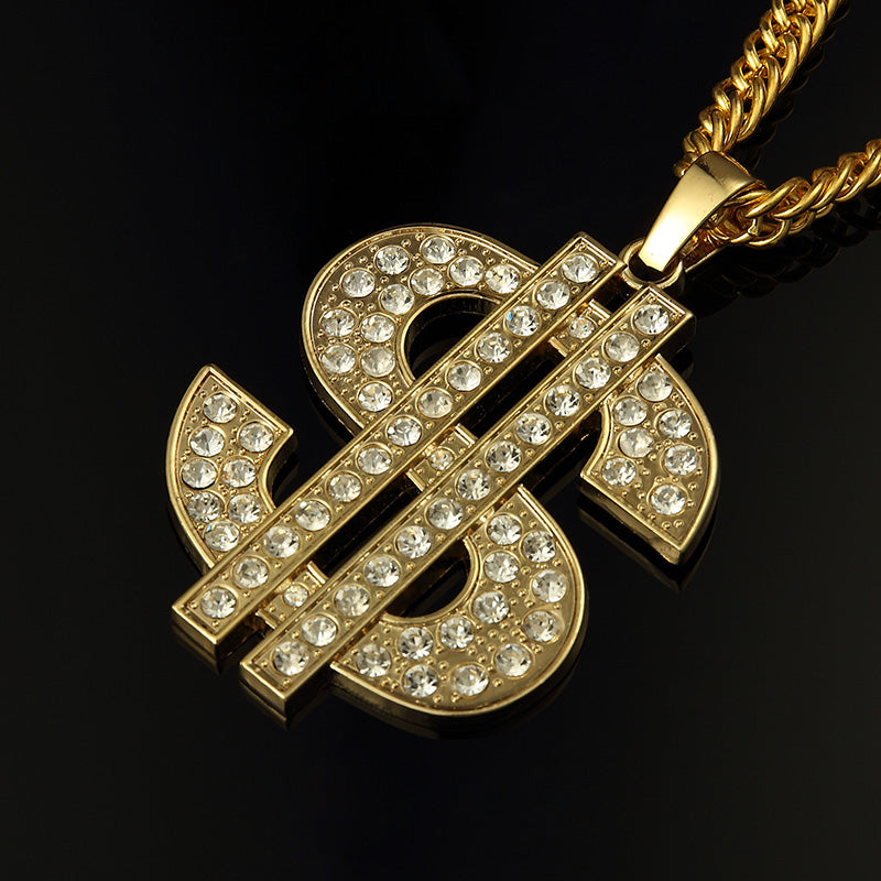 Ice Out Men Jewelry Big Dollar Pendant Necklace Gold Cuban Chain for Men Hip Hop Jewelry Long Necklace 80cm with Gift Box