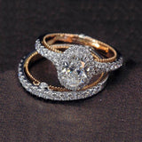 2 Pcs/Set Fashion Rose Gold Egg-Shape Ring Creative Rings Sets For Engagement Wedding Jewelry Rings