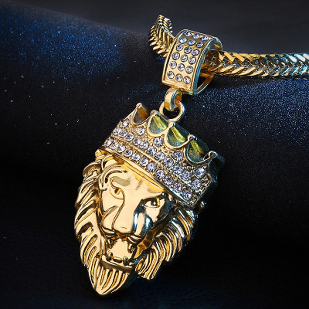 Mens Full Iced Rhinestone An Crown Lion Tag Necklaces Pendants Hip hop Cuban Chain Hip Hop Necklace Gold Jewelry For Male