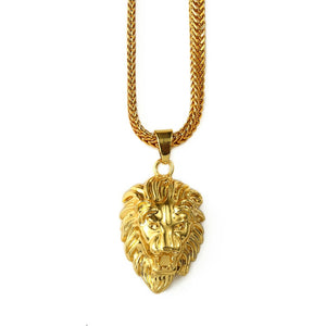 Mens Gold Lion Head Pendant Charm 29.5inch Franco Chain Hip Hop Golden Lion Pendant Necklace Men Women Elegant Gift Box