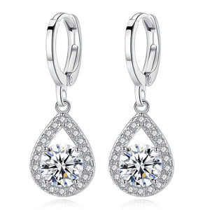 White Gold Color Clear Brilliant AAA Zircon Jewelry Fashion Clip Earrings for Women Engagement Jewelry Ladies Gifts