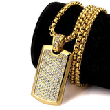 Men's Jewelry Smooth Card Pendant With Rhinestone High Quality Fashion Hip Hop Men Dog Tag Charm Necklace For Gift