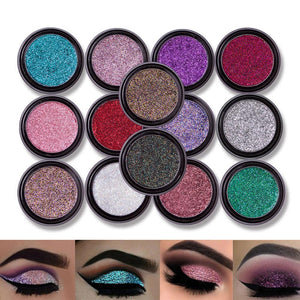New 14 Colors Pigment Shimmer Metallic Eye Shadow Glitter Loose Powder Eyeshadow Makeup paleta de sombra Diamond Lips
