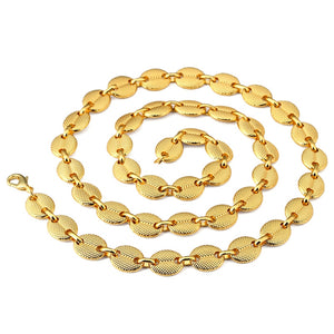 New Design Hip Hop Men's Big Chain Golden Two Tone Cuban Chains Necklace for Men Women Jewelry 29.5 Inch Long Necklace