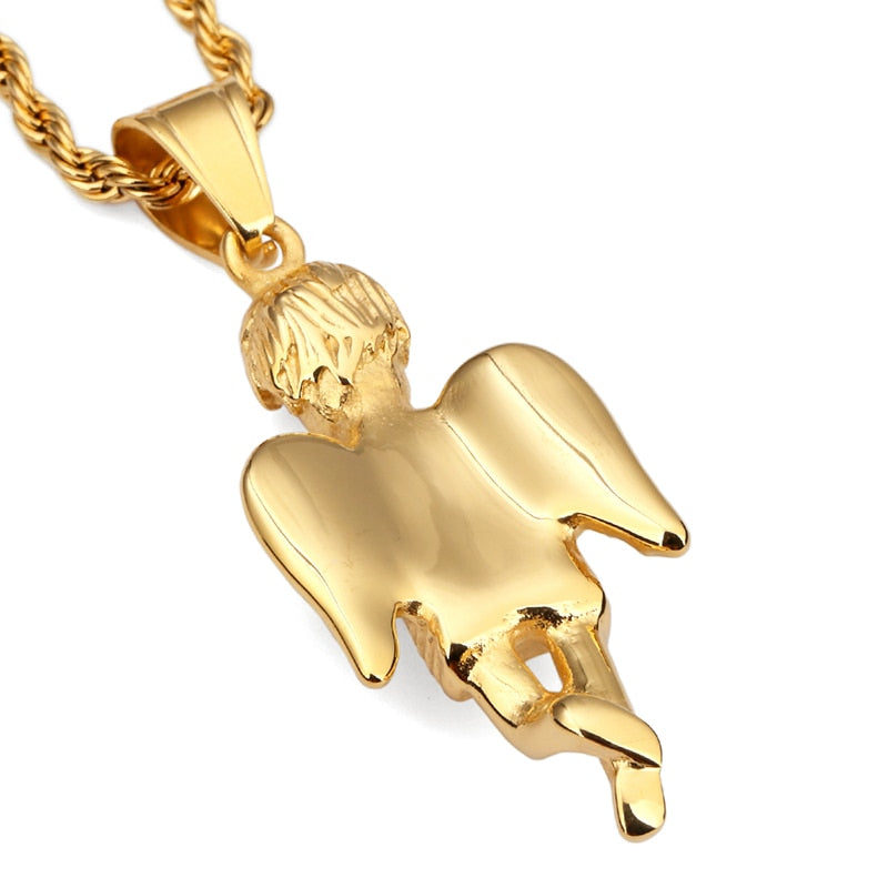 New Gold Small Angel Boy Pendant Necklace Titanium Steel Angels Punk Jewelry 60cm Rope Chain Men Women Christmas Gifts