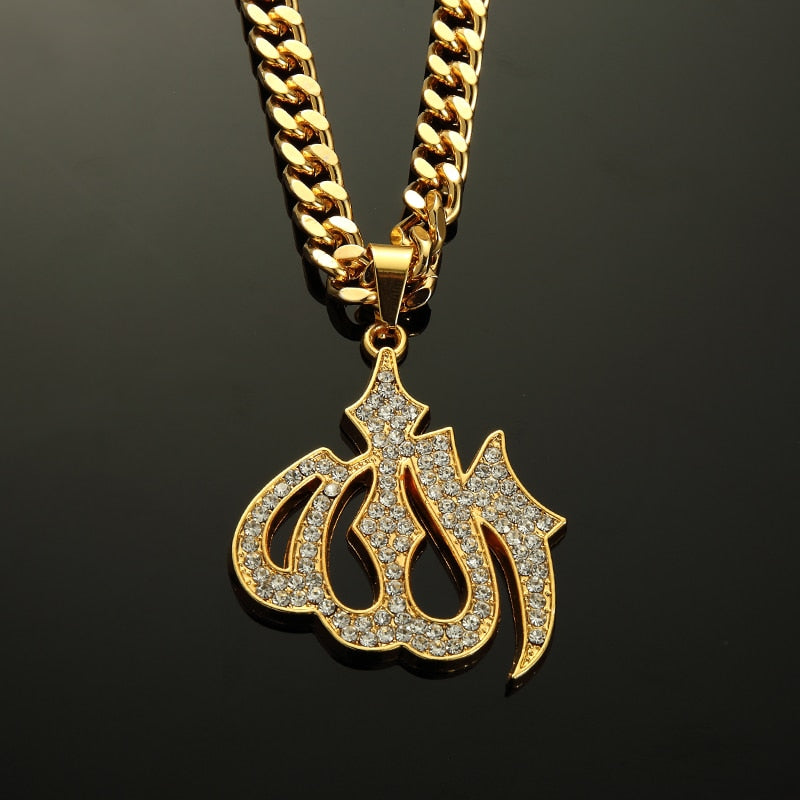 Stainless Steel Islamic Allah Pendant Necklace Gold CZ Stone Rhinestone 75cm Rope Chain for Men Women Hip Hop Jewelry Gift