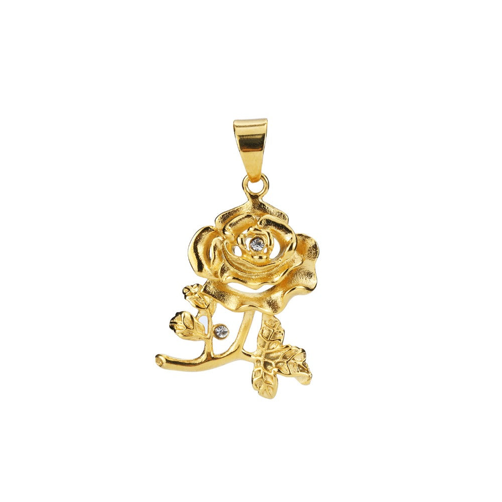 Top Quality Rose Metal Flowers Pendant Necklace Delicate Necklace Gold Chain Men Women Jewelry with Gift Box
