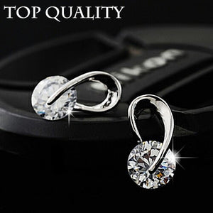 U Shape Silver Color Zircon Crystal Stud Earrings For Women New Brincos Flower Wedding Fashion Jewelry Mujer Best Friend Gift