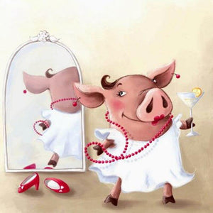 F&S Diamond Painting Store Pig And Mirror