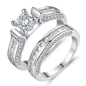 Luxury 2Pcs Ring Set Clear AAAA Cubic Zircon Ring for Lovers White gold Plated Square Drill