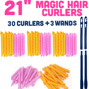 MAGIC HAIR CURLERS PACK OF 3 (21 INCHES/55 CM) - TOTAL 30 CURLERS AND 3 WANDS