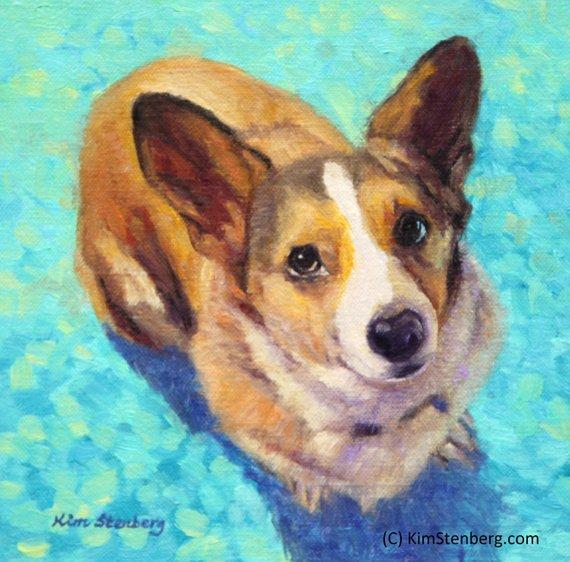 "F&S Gift Store Pembroke Welsh Corgi Custom Pet Dog Portrait Oil Commission Painting from Photo 8"" x 8"" Wall Art Unique Gift For Dog Lover By Kim Stenberg"