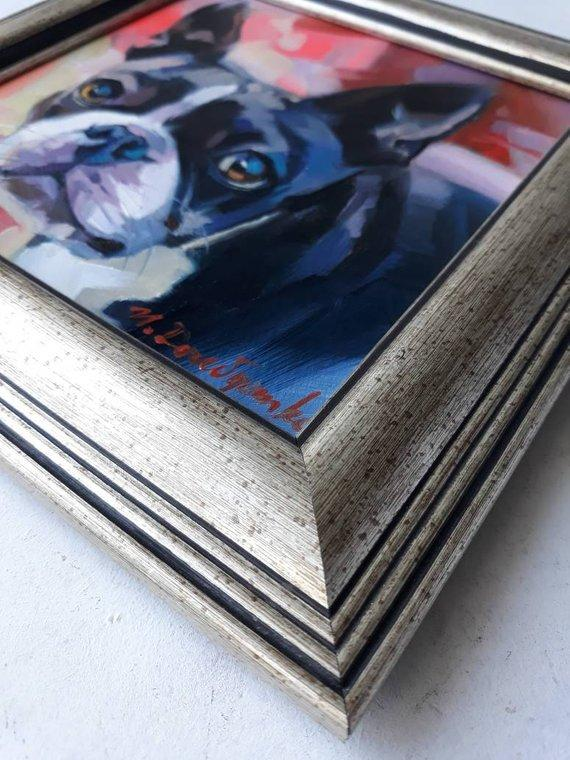 F&S Gift Store Boston terrier art framed painting original cute Dog art pet portrait oil custom painting canvas from photo multicolor gifts for owners