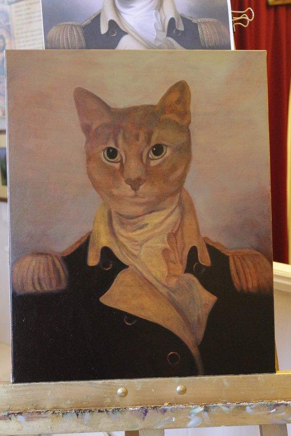 F&S Gift Store Cat portrait, Custom pet portrait, Commissioned art, Gift for a cat lover, Pet paintings, Gift for woman, Portrait from a photo