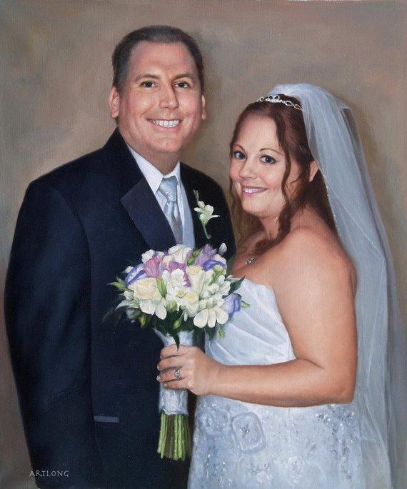 F&S Gift Store CUSTOM wedding portrait from Photo, Turn photo into oil painting, Custom Kids Portrait, 100% Handmade, Photo to Oil Painting