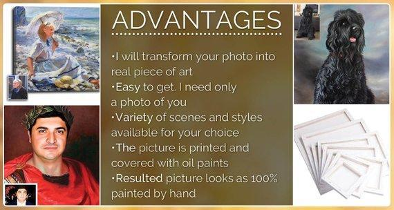 Personalized Oil Painting From Photos, handcraft art on Canvas-Show Case FEN100986-48