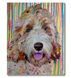 F&S Gift Store Gift for dog lovers Oil pet portrait from photo Dog custom painting Colorful painting dog Pop art pet painting to order Dog memory painting