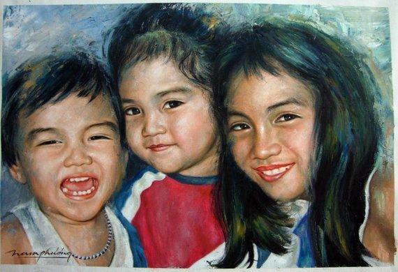 Personalized Oil Painting From Photos, handcraft art on Canvas-Show Case NNG101013-48