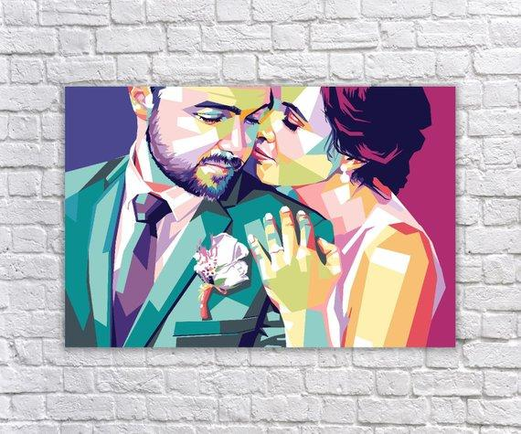 F&S Gift Store Custom Pop Art Wedding Portrait Oil Painting Your Photo to WPAP Pop Art Family Portrait