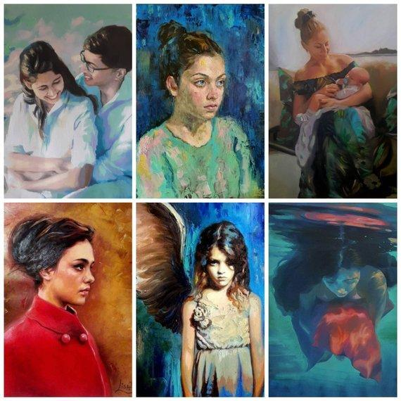 Personalized Oil Painting From Photos, handcraft art on Canvas-Show Case HNG101521-12