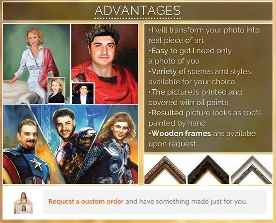 Personalized Oil Painting From Photos, handcraft art on Canvas-Show Case LKH101370-24