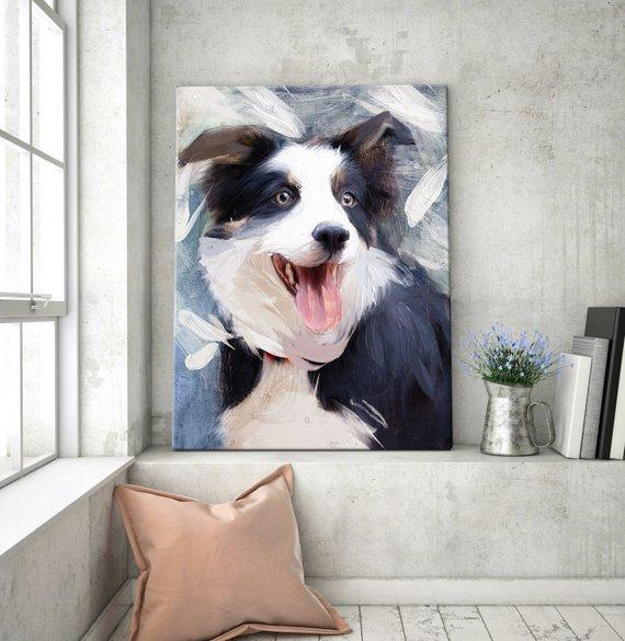F&S Gift Store Custom Dog painting Portrait Pet from photo , Digital Oil Painting, Custom Dog memorial gift , Pet portraits Loss, cyber week sale
