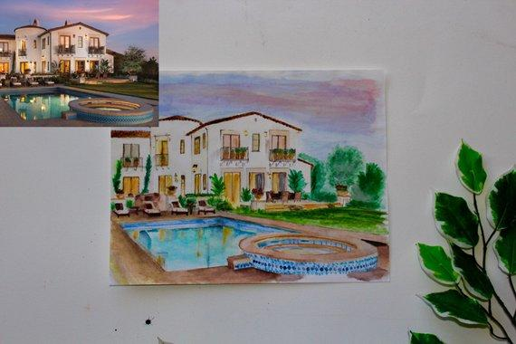 F&S Gift Store Housewarming Gift - Custom Oil Painting - Watercolor House Portrait - Custom Home/View Illustration - House Paint From Photo