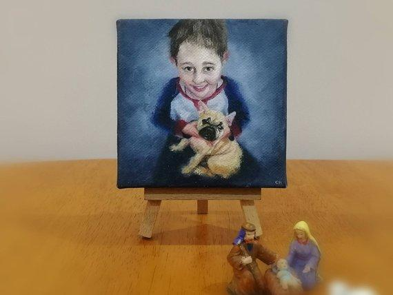 F&S Gift Store Bespoke, Miniature Oil Painting, Custom, Christmas Present, Gift, From your photos, Portrait, Pet Portrait, Dog, Cat, Wedding Gift, Mini