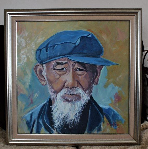 F&S Gift Store Oil painting on canvas,The old man with the hat and the beard,, portrait from photo,silver Framed,Ready for hang,Unigue,Signed,49x49
