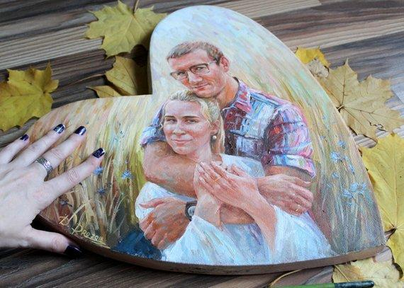 F&S Gift Store Family oil portrait, HeartShape portrait, Romantic Gift, Portrait from photo, Couple oil painting from photo, Wedding gift, Engagement gift
