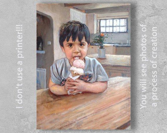 Personalized Oil Painting From Photos, handcraft art on Canvas-Show Case TIH102433-24