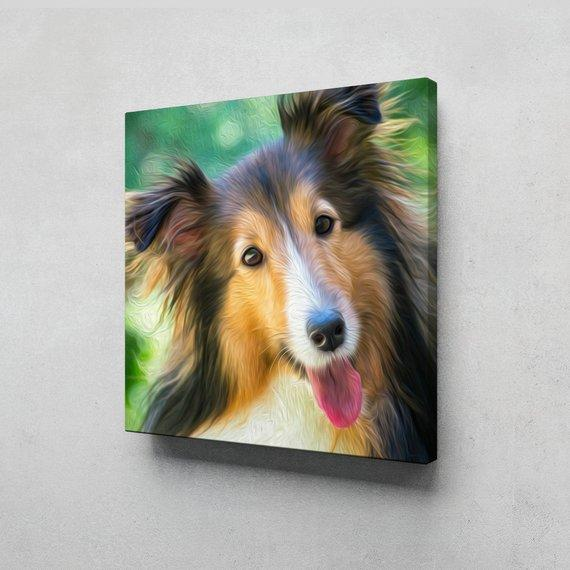 F&S Gift Store Custom Pet portrait from photo, Pet oil paint style ready to hang Canvas print, Dog painting, Dog portrait, Pet Painting, Pet Portrait
