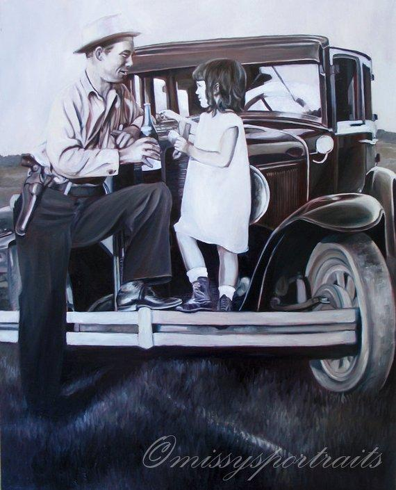 F&S Gift Store CUSTOM PORTRAIT - Oil Painting - From a Black and White Photo - Perfect Gift