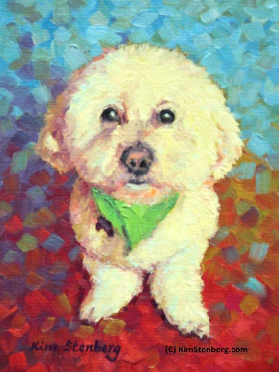 "F&S Gift Store Bichon Frise Custom Pet Dog Portrait Oil Commission Painting from Photo 6"" x 8"" Wall Art Unique Gift For Dog Lover By Kim Stenberg"