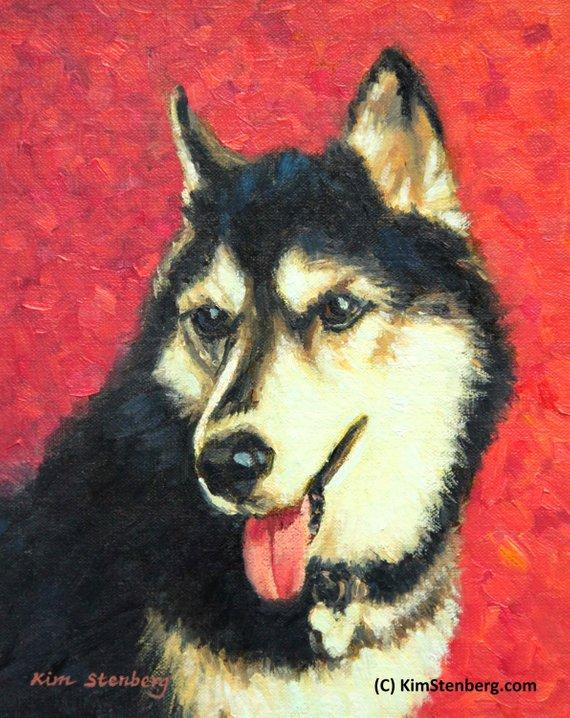"F&S Gift Store Husky Custom Pet Dog Portrait Oil Commission Painting from Photo 6"" x 8"" Impressionist Wall Art Unique Gift For Dog Lover By Kim Stenberg"